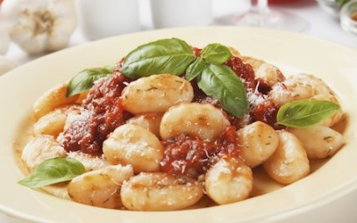 Gnocchi di patata, italian potato noodle with tomato sauce and basil