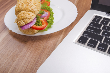 eating and working