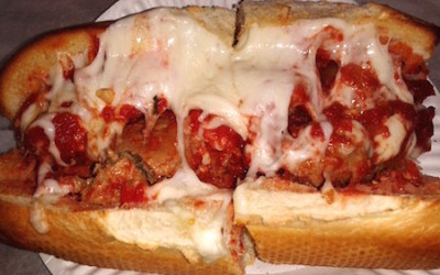 fresh out of the oven meatball sandwich